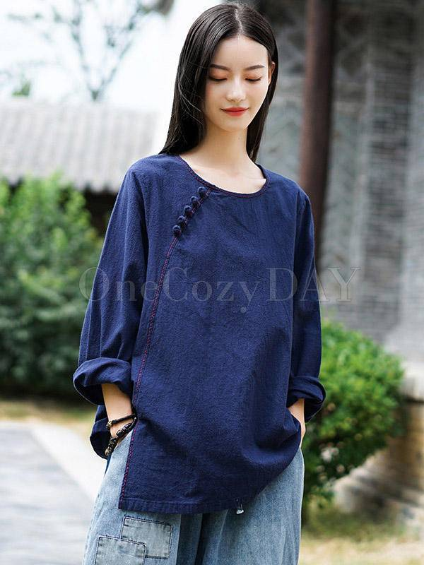 Vintage Solid Color Loose Long-Sleeved T-Shirt