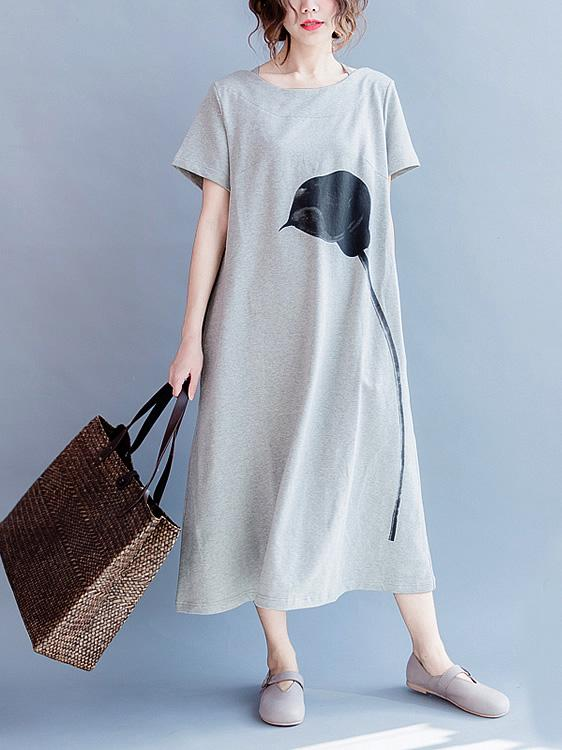 Gray Casual Cotton blend T-shirt Dress