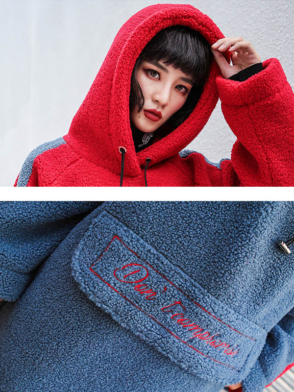 Loose Embroidered Woolen Mid-Length Hoodie