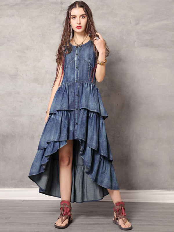 2019 Summer New Vintage Asymmetric Falbala Dress