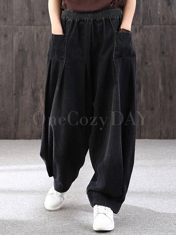 Leisure Solid Denim Puff Pants Bottoms