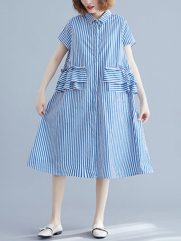 Striped Falbala Dress