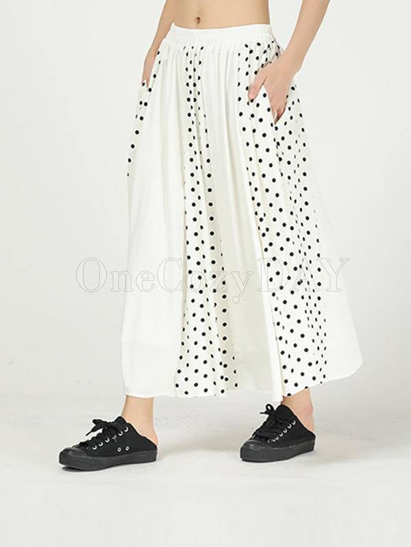 Pleated Cropped Splicing Polka-Dot Skirt