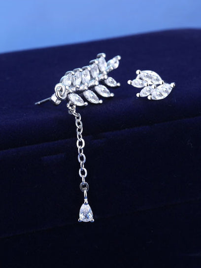 Asymmetric Leaf Shining Earrings