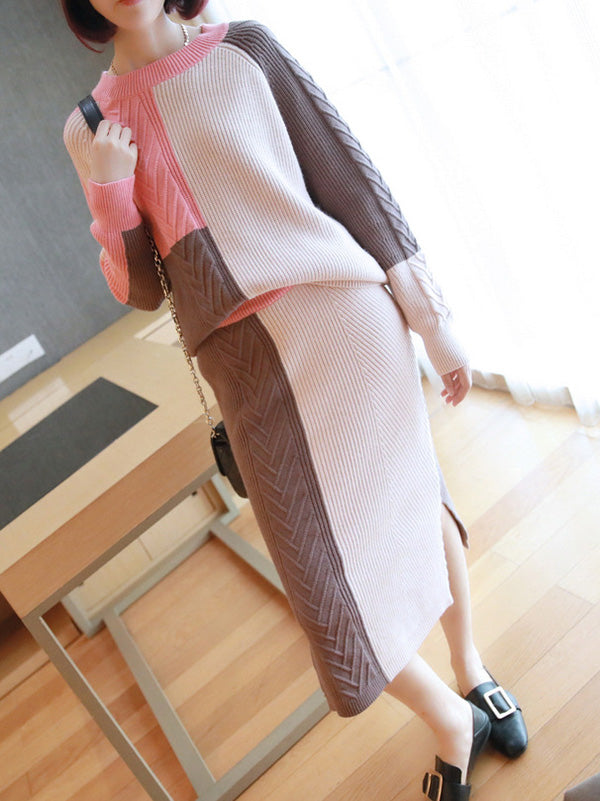 Casual Contrast Color Knitting Sweater&Skirt Suits