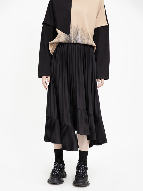 Solid Cropped Split-joint Pleated Skirt
