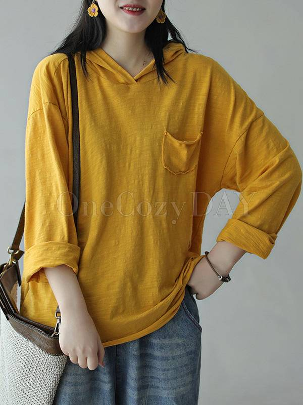 Vintage Loose Solid Color Hollow Hood T-Shirt