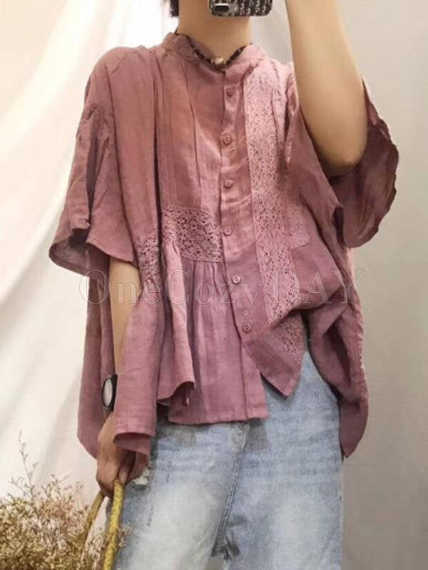 Original Solid Lace Blouses&Shirts Tops