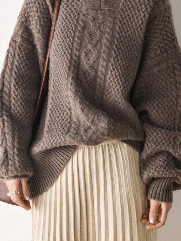 Vintage Loose V-neck Lantern Sleeves Sweater