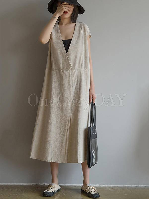 Loose Deep V-Neck Split-Front Long Dress