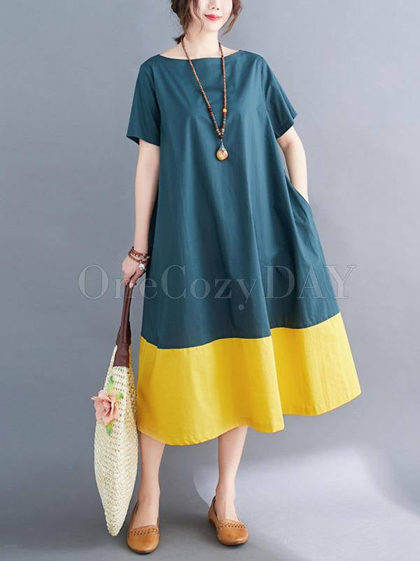 Contrast Color Loose Round Neck A-Line Dress