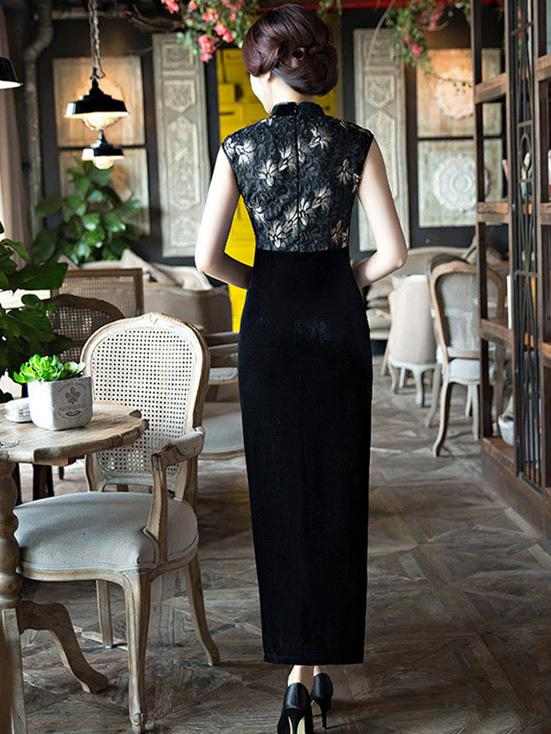 Black Velvet Lace Long Cheongsam Dress