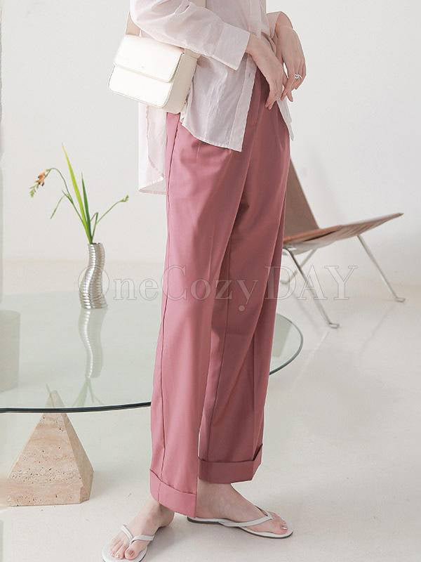 Solid Color Loose Straight Leg Pants