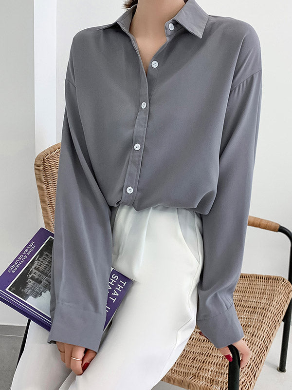 Solid Color Loose Casual Lapel Shirt