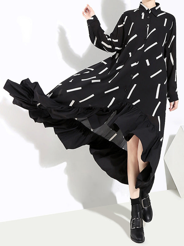 Printed Falbala Lapel Shirt Midi Dress