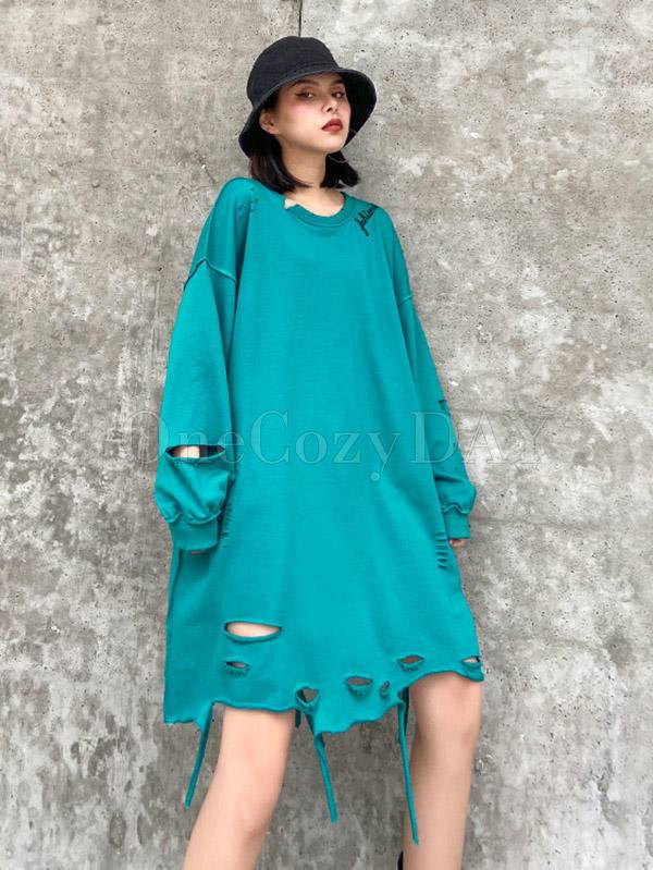 Loose Solid Color Hollow Round Neck T-Shirt