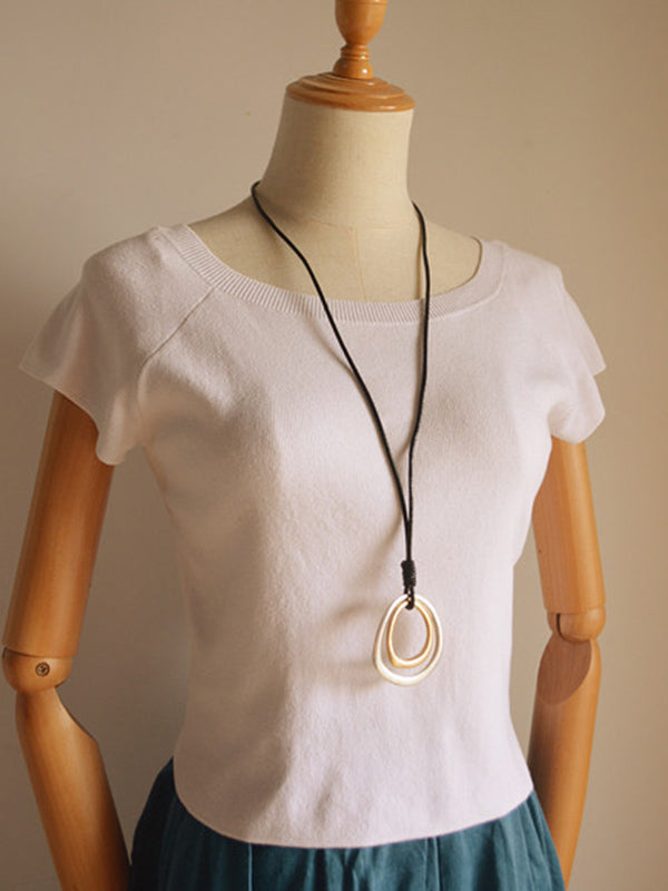 Simple Cropped Circles Necklace