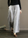 Linen Striped  Wide Leg Pants