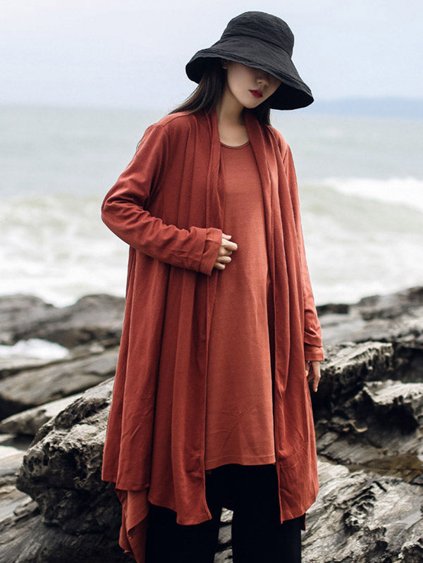 Solid Color Casual Long Outwear