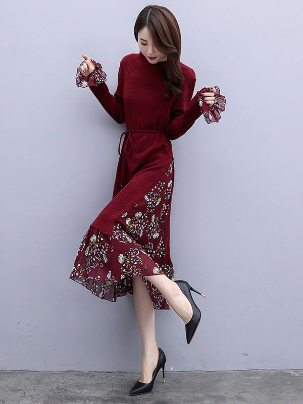 Floral Horn Sleeve Cropped Midi Dress