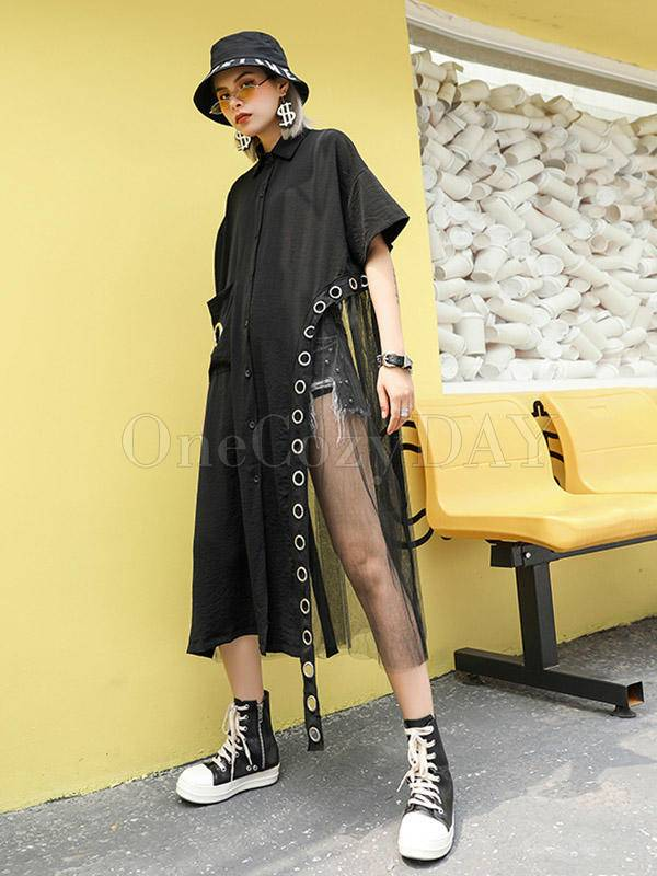 Loose Mesh Splicing Short Sleeve Shirt Dress