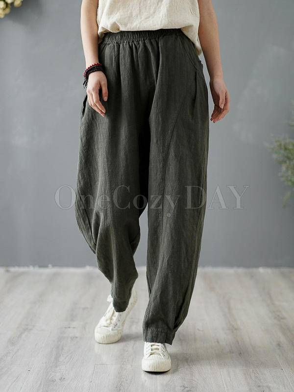 Loose Solid Color Casual Pants