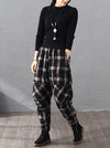 Vintage Plaid Thickening Pleated Harem Pants