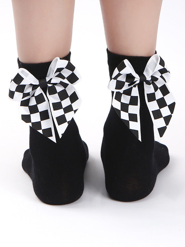 Plaid Bow-knot Decorative Socks