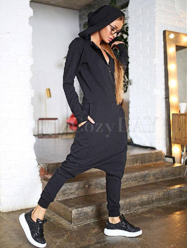 Solid Hooded Zipper Yoga Jumpsuits