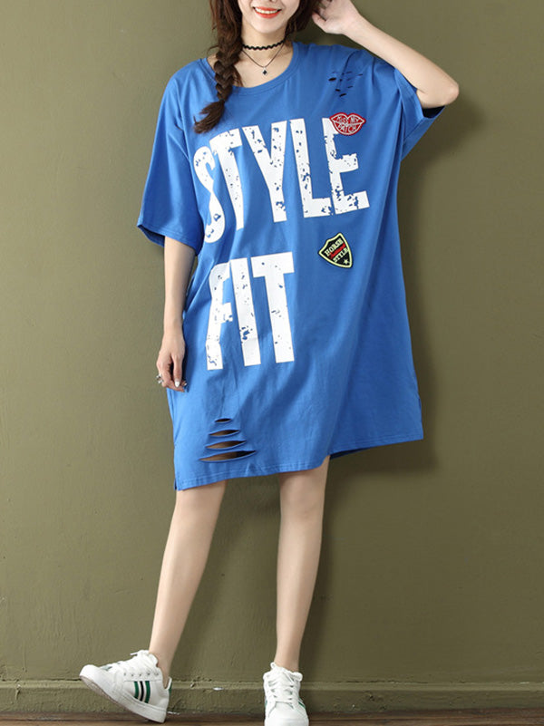 Loose Oversize Printed Letter Shredded Dress