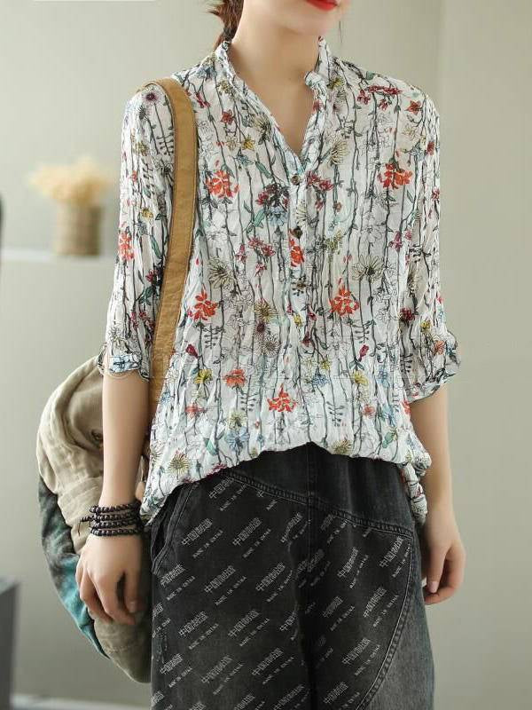 Vintage Printed Splicing Loose Three-Quarter Sleeve Stand Collar Shirt