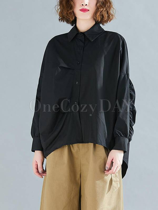 Solid Color Pleated Loose Cropped Hem Shirt