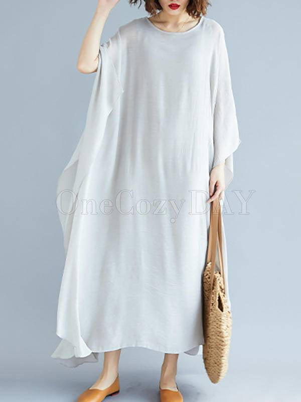 Loose Solid Color Vintage H-Line Dress
