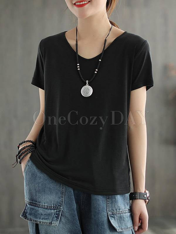 Solid Color V-Neck Simple T-Shirt