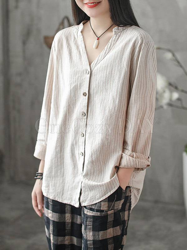 Vintage Loose Stripe Cropped V-Neck Shirt