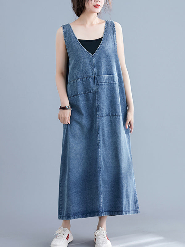 Loose Sleeveless Denim V-Neck Midi Dress