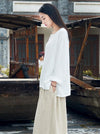 Round-neck Linen Cotton Long Sleeves Tops