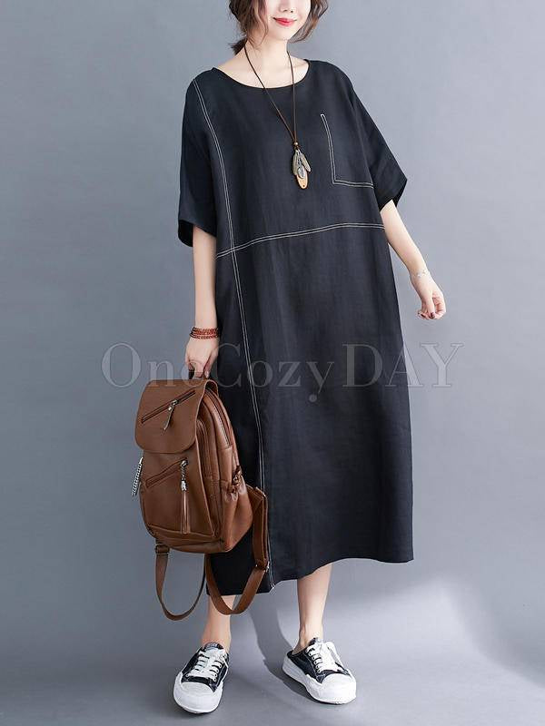 Loose Split-Joint Round-Neck Long Dress