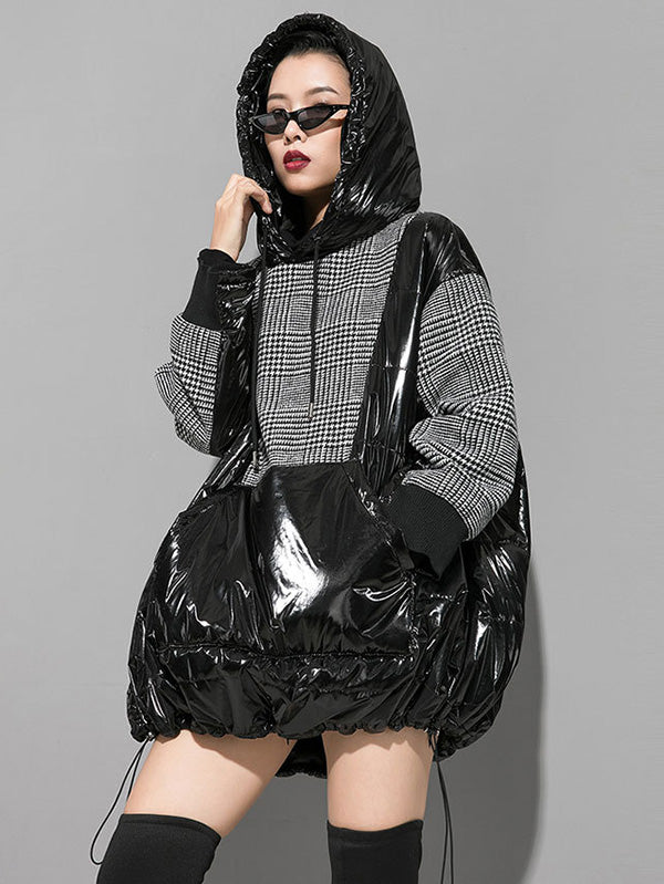Plaid Stitching Padded Loose Long Hoodie