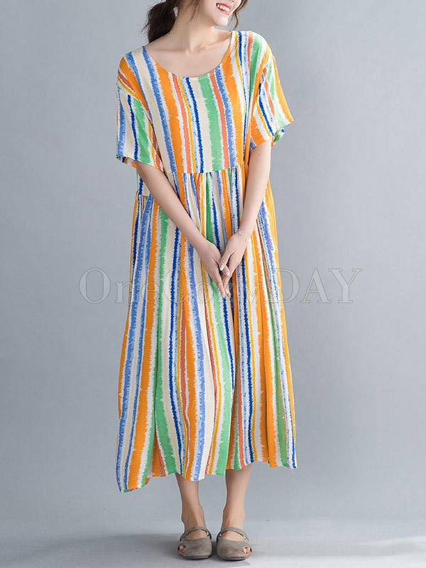 Loose Colorful Striped Comfortable Long Dress