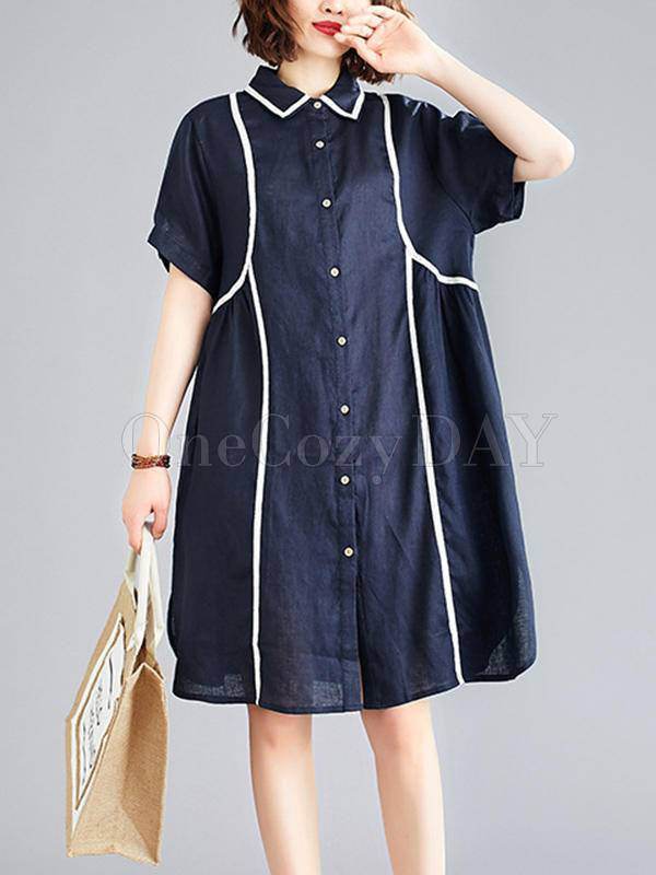 Loose Striped Splicing Shirt Dress