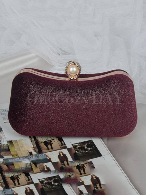 Vintage Solid Color Velvet Hand Bag