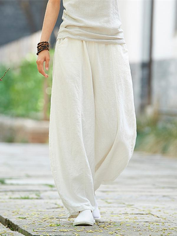Beige&White Ramie Cotton Casual Linen Bloomers Pants