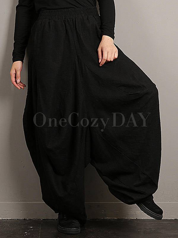 Loose Plus-Size Vintage Solid Color Bloomers Pants