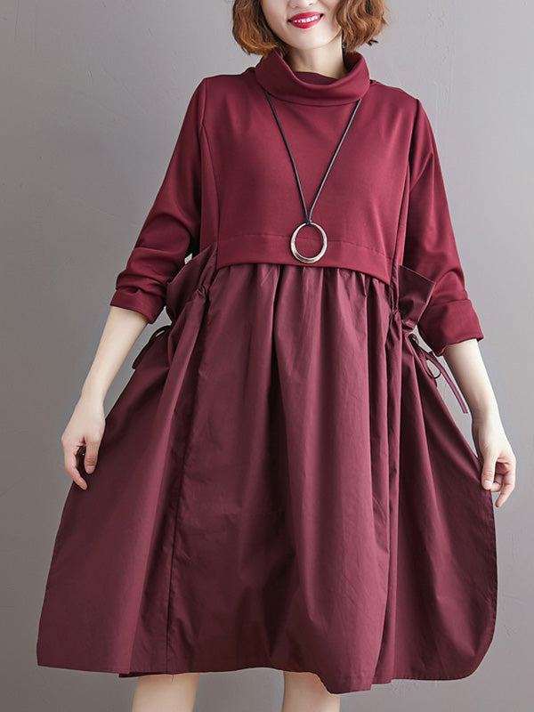 Stitched Pleated Bandge High-Neck Dress