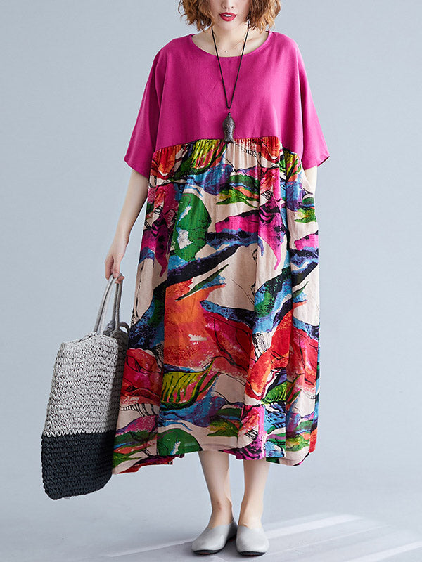 Ethnic Style Print Loose Short Sleeve Splicing Dress
