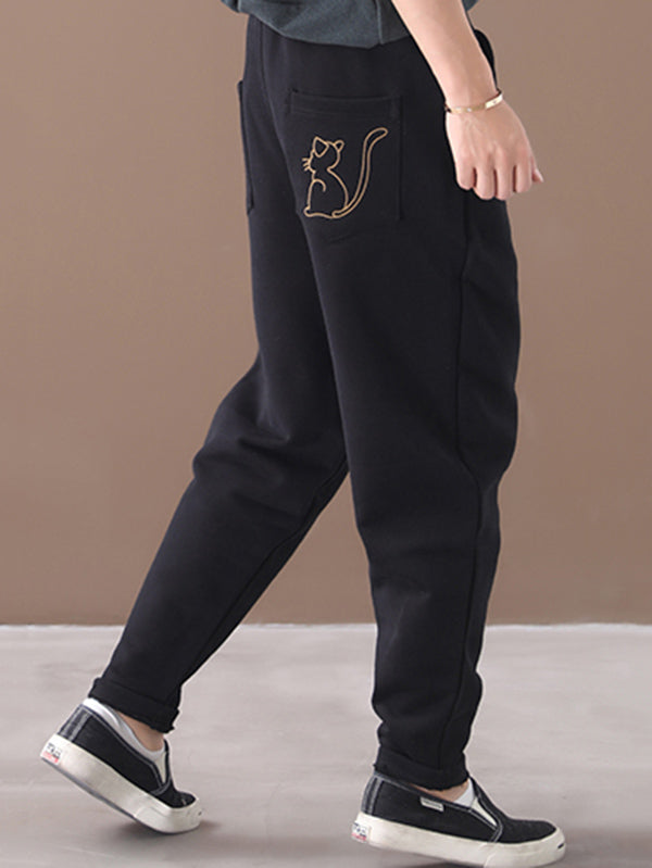 Loose Cartoon Embroidery Velvet Pants