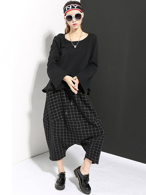 Drop-crotch Woolen Plaid Casual Harem Pants