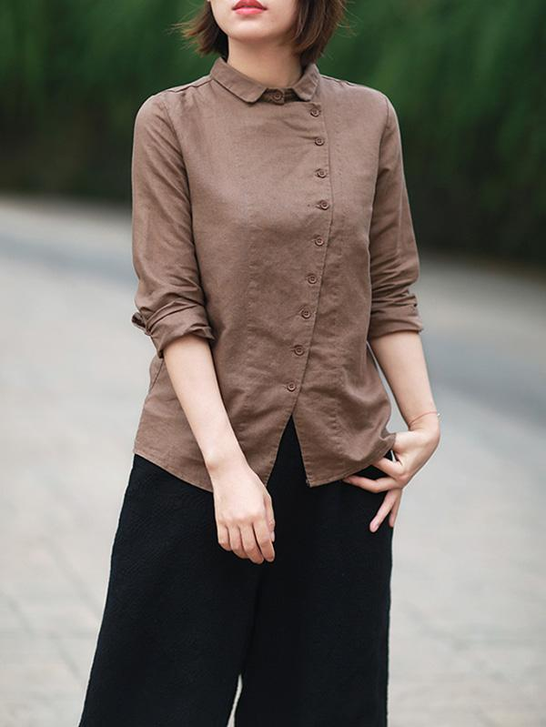 Casual Button Split-front Lapel Blouses