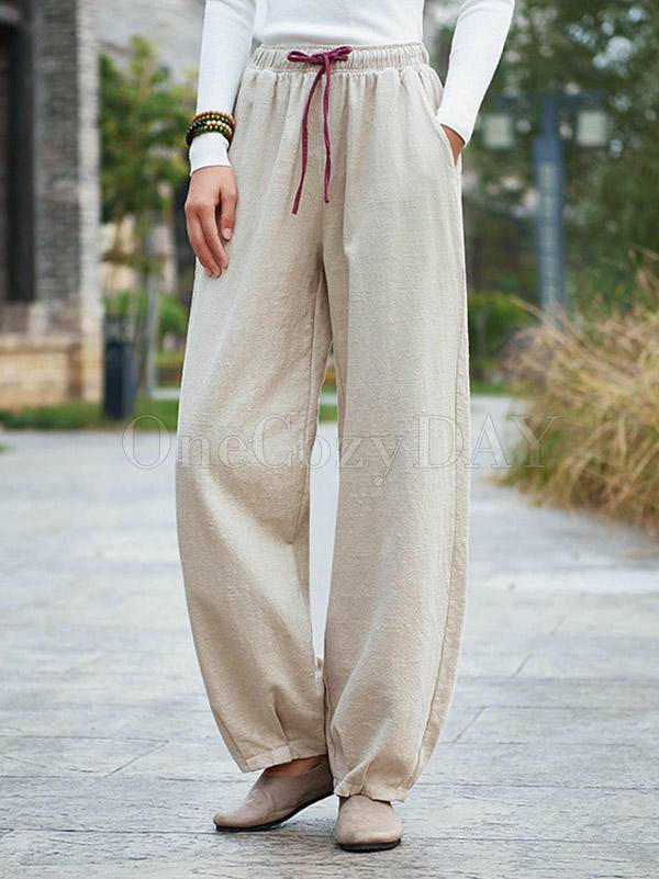 Vintage Loose Solid Color Bloomers Pants